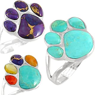 Dog Paw Ring in Sterling Silver & Genuine Turquoise