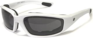 Motorcycle Smoke Riding Glasses Sunglasses with Foam and White Frame Plus Carry Bag