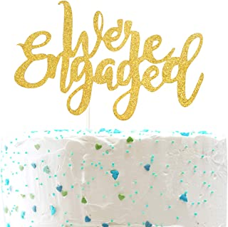 We're Engaged CakeTopper for Engagement Wedding Party Decorations,Engaged AF Sign (Double Sided Gold Glitter)