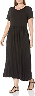 Amazon Essentials Women's Plus Size Short-Sleeve Waisted Maxi Dress