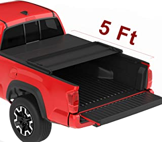 oEdRo Upgraded Soft Tri-fold Truck Bed Tonneau Cover On Top Compatible for 2016 2017 2018 2019 Toyota Tacoma with 5ft Bed | Fleetside