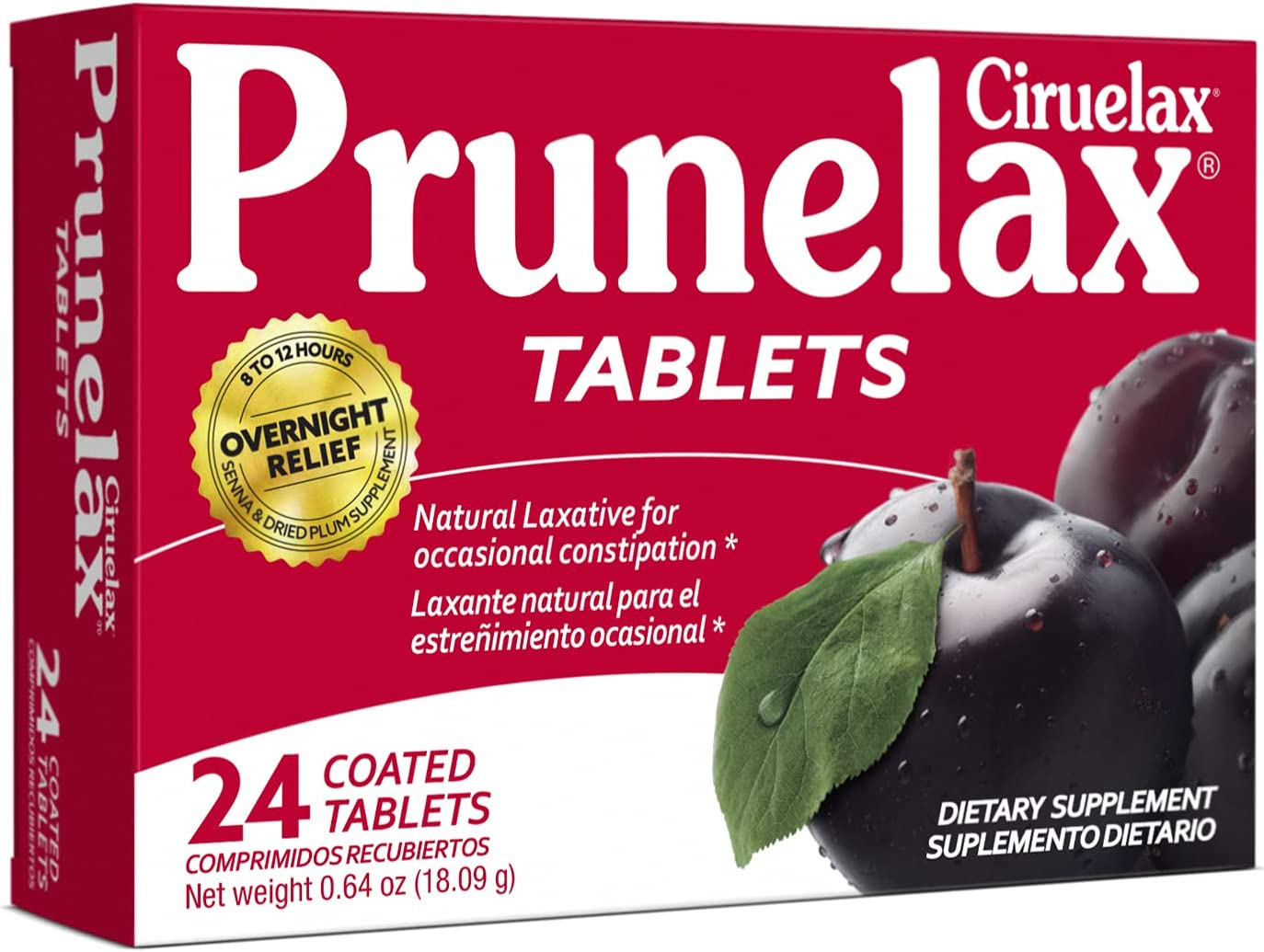 Prunelax Ciruelax Natural Shipping included Large discharge sale Laxative 24Count Tablets Regular