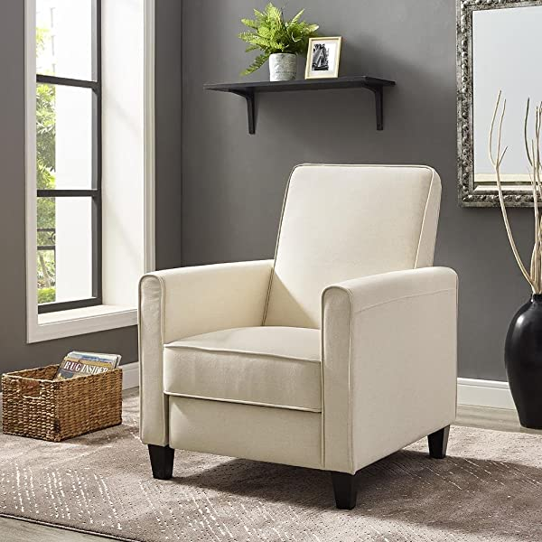 Naomi Home Landon Push Back Recliner Chair Cream Linen