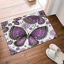 Jszna Purple Butterfly Bath Rugs Non-Slip Floor Entryways Outdoor Indoor Front Door Mat,60x40cm Bath Mat Bathroom Rugs
