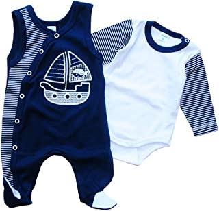 Malgosia - A&O Strampler & Body Baby Set Geringelt Blau Kombination