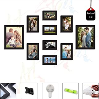 Art Street Set of 10 Individual Black Wall Photo Frames Wall Decor Free Hanging Accessories Included ||Mix Size|| 4 Units ...
