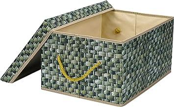 Livememory Decorative Storage Box Storage Bin with Lid [Printed Wicker Pattern,Not Real Wicker Basket]
