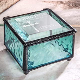 First Communion Gift for Girls Personalized Keepsake Jewelry Box Blue Stained Glass J Devlin Box 898 EB220