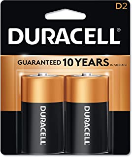 Duracell CopperTop Alkaline Batteries with Duralock Power Preserve Technology, D, 2/Pack