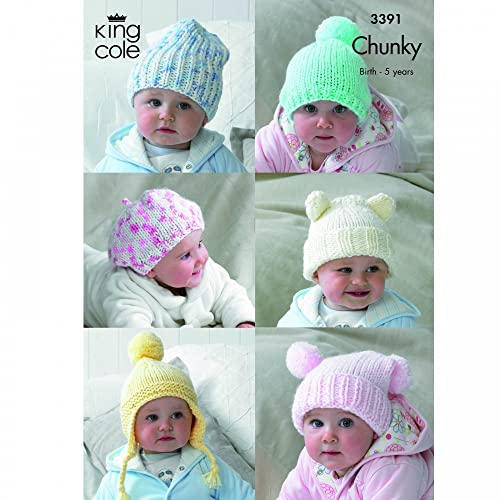 095eafef1bb King Cole 6 Baby Hats Comfort Chunky Knitting Pattern 3391 by King Cole