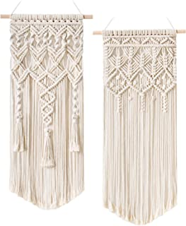 Mkono 2 Pcs Macrame Woven Wall Hanging Boho Chic Bohemian Home Geometric Art Decor - Beautiful Apartment Dorm Room Decoration, 28