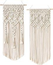 Mkono 2 Pcs Macrame Woven Wall Hanging Boho Home Chic Bohemian Geometric Art Decor..
