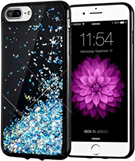 iPhone 7 Plus Case, Caka Starry Night Series Bling Flowing Floating Luxury Liquid Sparkle Soft TPU Glitter Case for iPhone 6 Plus 6S Plus 7 Plus 8 Plus (5.5 inch) (Blue)