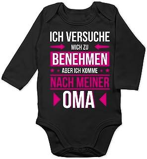 Shirtracer Sprüche Baby - Ich versuche Mich zu benehmen Aber ich komme nach meiner Oma - Baby Body Langarm