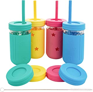 Elk and Friends Kids Cups/Toddler cups with Straws - Glass Mason Jars 12 oz with Silicone Sleeves & Straws + Straw & Leak ...