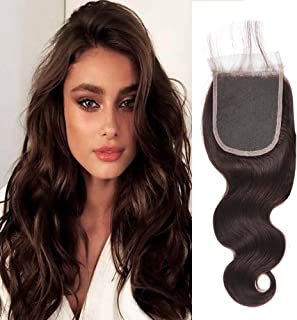 Black Rose Hair Pre Colored 2# Lace Closure Body Wave Chocolate Borwn Peruvian Virgin Human Hair Products Full Hand tied 4 inch by 4 inch Lace frontal Closure with Baby Hair(12Inch)