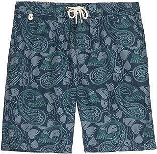 67353394307f3 Men's Jachs NY Teal Paisley Print Long Beach Swim Trunk