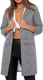Rimi Hanger Womens Hounds Tooth Gingham Check Print Duster Coat Ladies Party Wear Jacket Top Small/3X Large