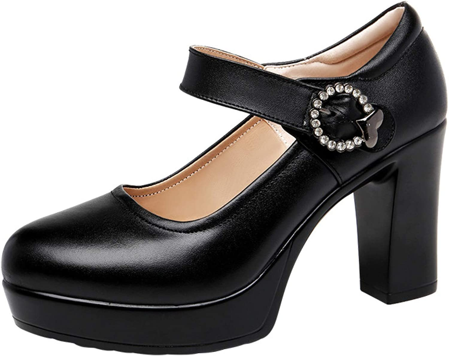 Women's Retro 4 years warranty Shockproof Office Dress Online limited product Relaxed Round Comfy Pumps