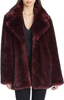 Avec Les Filles 女士人造毛皮中长外套,带缺口领