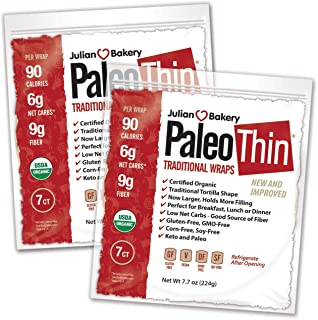 Julian Bakery Paleo Thin Wraps | USDA Organic | Gluten-Free | Grain-Free | Low Carb | 6 Net Carbs | 2 Pack | 14 Individual Wraps
