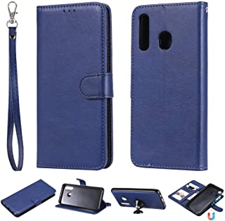 Galaxy A20 Leather case,Galaxy A20 Leather Case Holder,Luckyandery ID Cash Credit Card Slots Holder Purse Magnetic Closure Carrying Folio Phone Accessories for Samsung Galaxy A20,Blue