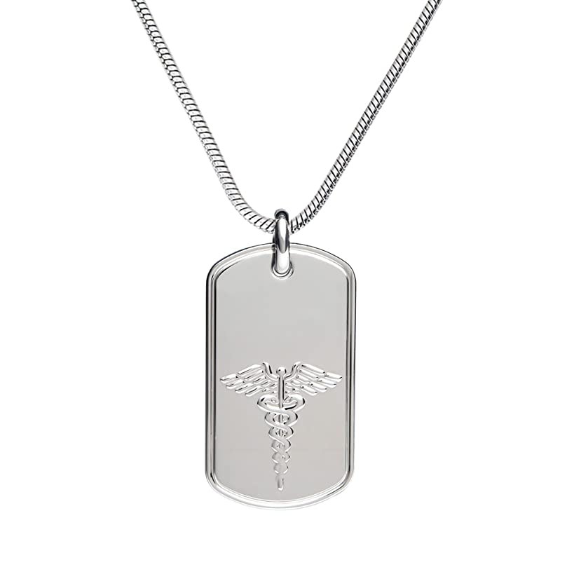 Divoti Deep Custom Laser Engraved 316L Stainless Classic Medical Alert ID Necklace -Dog Tag -Snake Chain 24/28 in