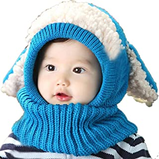 Clearance! Baby Boy Girls Winter Warm Knit Hooded Scarf Hats Toddler Crochet Beanie Caps