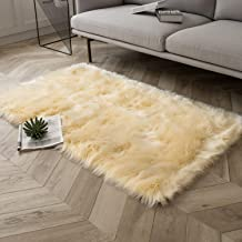 Ashler Soft Faux Sheepskin Fur Chair Couch Cover Area Rug for Bedroom Floor Sofa Living Room Yellow Rectangle 3 x 5 Feet
