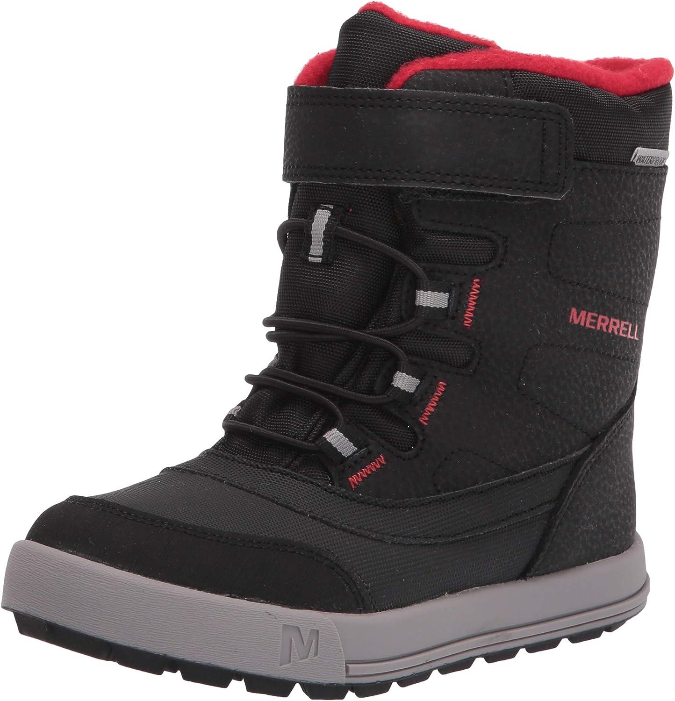 Merrell Snow Storm Waterproof Boot, Black/Grey/Red, 12 US Unisex Big Kid