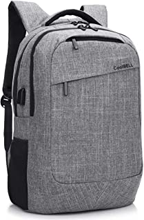 CoolBELL 17.3 Inch Laptop Backpack with USB Charging Port Function/Multi-Compartment Travel Rucksack/Water-Resistant Knapsack/Protective Day Pack for Men/Women (Grey)