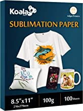 KOALA Sublimation Heat Transfer Paper 8.5X11 Inches for Inkjet Printer Compatible with Sublimation Ink 100 Sheets 100gsm