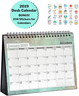 """Cranbury Small Desk Calendar 2019 Monthly: Flip Desktop Counter Top Calendars with Bonus Planner Stickers for Family and Office, 8""""x6"""" (Colorful), Sturdy, USE Now Through December 2019"""
