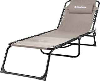 KingCamp Patio Lounge Chair Chaise Bed 3 Adjustable Reclining Positions Steel Frame 600D Oxford Folding Camping Cot with Removable Pillow for Camping Pool Beach Supports 300lbs