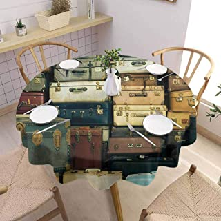 UETECH Pad Round Tablecloth Vintage Decor Collection Colorful Vintage Suitcase Antique Leather Decorative Travel Gift Map Nostalgia Brown Cream Green Buffet Table Holiday Dinner Picnic D60