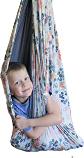 SENSORY4U Lycra Sensory Swing (Double Layered and Reversible Sloth Print or Gray Fabric) Indoor Therapy Swing Snuggle Cuddle Hammock Cacoon for Children with Autism ADHD and Aspergers