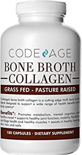Codeage Organic Multi Bone Broth Collagen Capsules,Protein Supplement, Joint Comfort, Flexibility and Cartilage Health, 180 Capsules