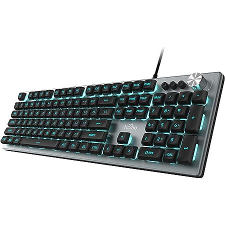 FIODIO Membrane Gaming Keyboard, Wired RGB Rainbow Backlit Keyboard, Ergonomic Standard Keyboard for Desktop, Computer and PC, Silver-Black (FK-2028-US)