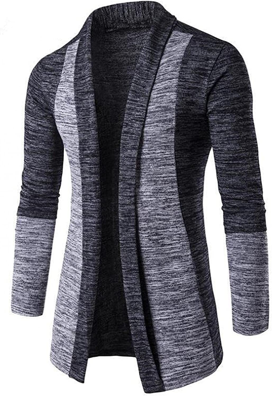 FUNEY Men Shawl Knit Open Front Cardigan Long Sleeve Drape Cape Collar Contrast Color Sweater Long Length Cardigan