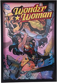 DC Comics 3D Vintage Wonder Women Lenticular Framed Vintage Wall Decor - Justice League Officially Licensed Product Made with Polycarbonate - Perfect Size of 19