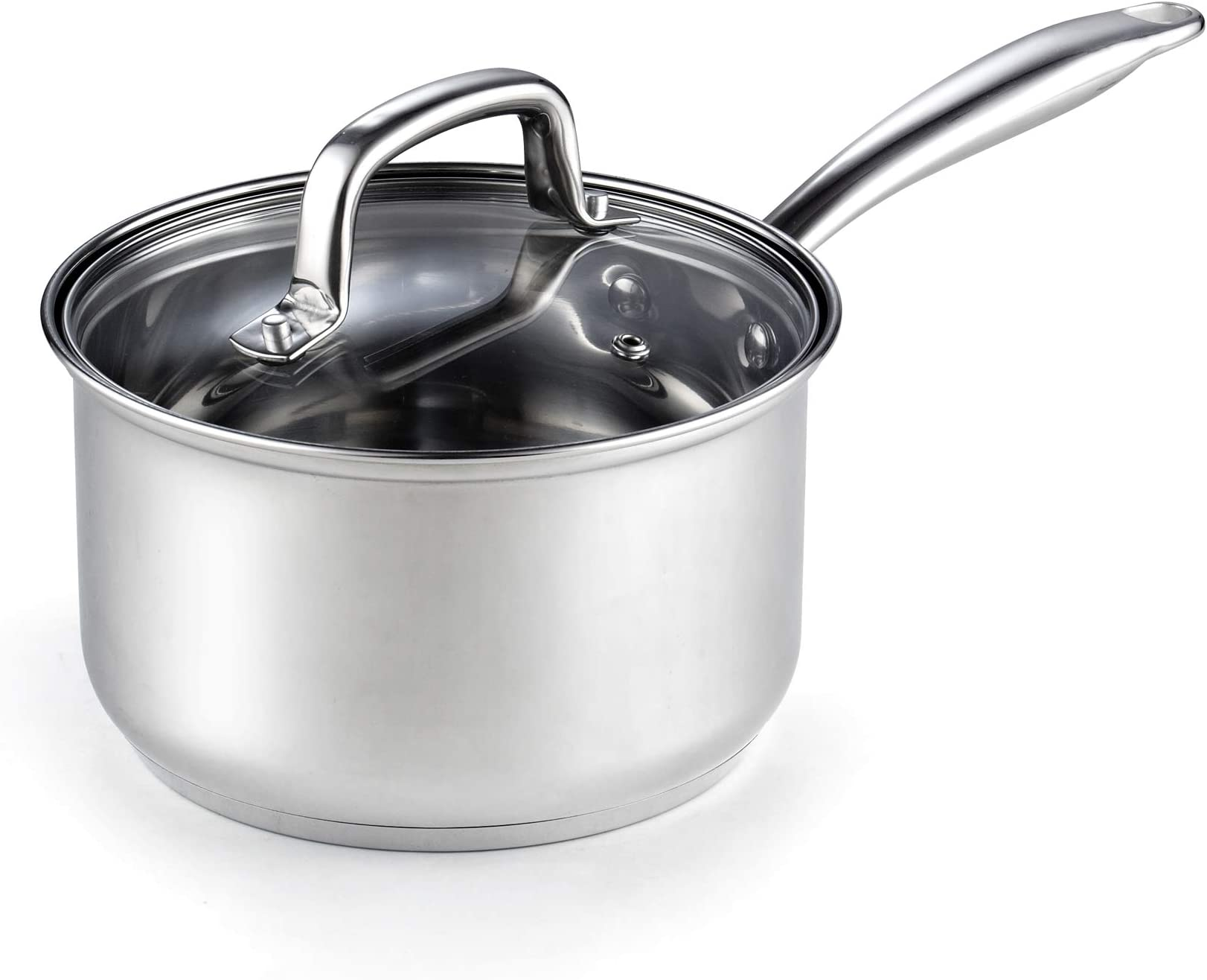 Cook N Home 2608 Lid 3-Quart Stainless Steel Saucepan, Silver