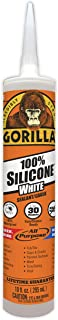 Gorilla White 100 Percent Silicone Sealant Caulk, Waterproof and Mold & Mildew Resistant, 10 ounce Cartridge, White, (Pack of 1)