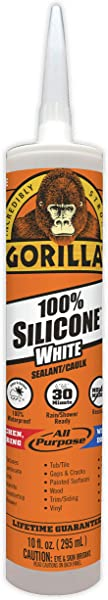 Gorilla White 100 Percent Silicone Sealant Caulk Waterproof And Mold Mildew Resistant 10 Ounce Cartridge White Pack Of 1