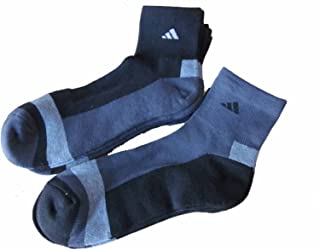 6 Pair Mens Adidas Quarter Crew Cushioned Socks (Black/Charcoal/Heather)