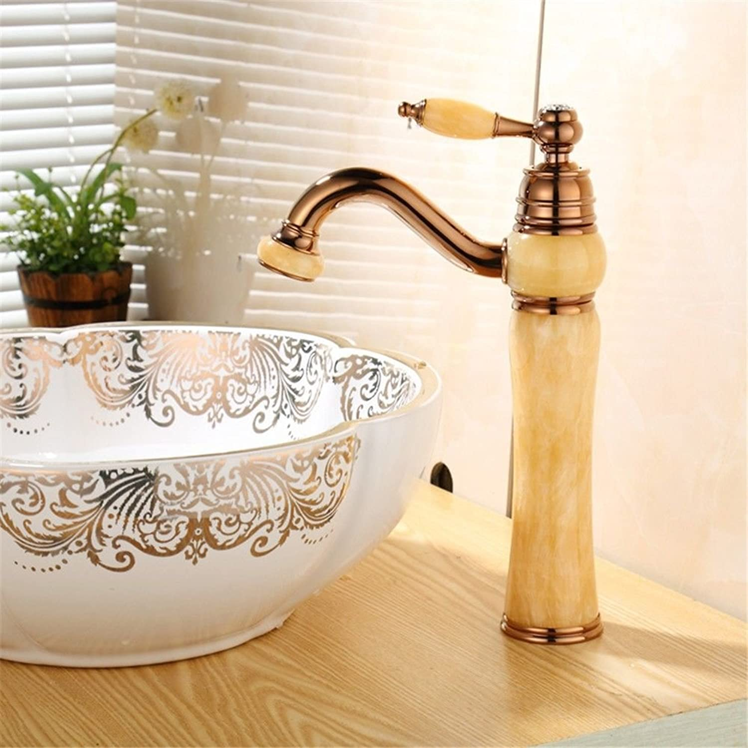 SADASD Contemporary Bathroom Full Copper Basin Faucet Jade Brass Chrome Plated pink gold Basin Sink Mixer Tap Ceramic Spool Single Hole Single Handle Cold Water With G1 2 Hose