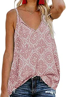913de4ff05900 BLENCOT Women s Button Down V Neck Strappy Tank Tops Loose Casual Sleeveless  Shirts Blouses