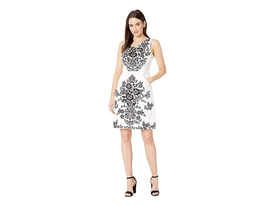 London Times A-Line Dress w/ V-Neck (Soft White/Black) Women