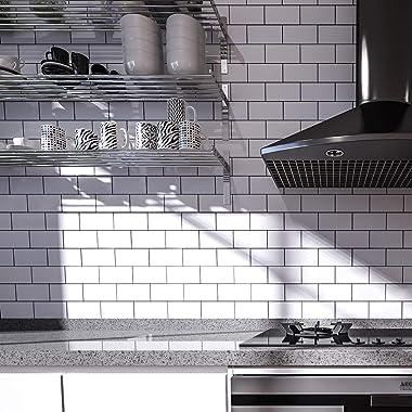 "Art3d 15""x12"" Peel and Stick Backsplash Tile, Subway Aluminum PVC Composite Panels (10 Tiles, White)"