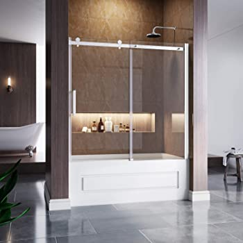 Elegant 60 W X 62 H Frameless Tub Door 5 16 Clear Glass Sliding Bathtub Shower Door One Direction Sliding One Fixed Glass Chrome Finish Amazon Com