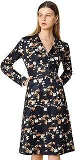 Allegra K Women's Half Placket Notched Lapel Knee Length Flare Floral Dress